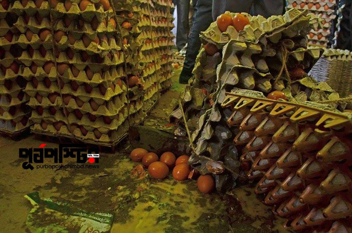 রাজধানীর খামারবাড়ি কৃষিবিদ ইনস্টিটিউশন প্রাঙ্গণে তিন টাকায় ডিম জুটেছে মাত্র গুটিকয়েকের কপালে। ধাক্কাধাক্কিতে ভেঙে পড়েছে ডিম বিতরণের অস্থায়ী মঞ্চ। বেশ কয়েক খাঁচি ডিম ভেঙে নষ্ট হয়ে যায়। ডিম কিনতে না পেরে ক্ষুব্ধ লোকজন বিক্ষোভ করছেন। শুক্রবার বিশ্ব ডিম দিবস উপলক্ষে বাংলাদেশ পোলট্রি ইন্ডাস্ট্রিজ সেন্ট্রাল কাউন্সিল (বিপিআইসিসি) ও প্রাণিসম্পদ অধিদপ্তর এই আয়োজন করে। ছবি: জীবন আহমেদ